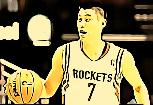 Cartoon Jeremy Lin dribbles for the Houston Rockets