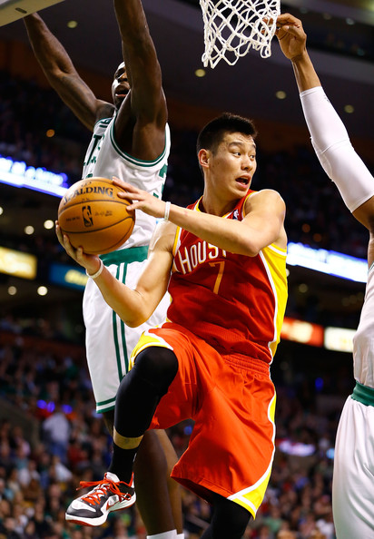 Jeremy Lin looks to pass against the Boston Celtics