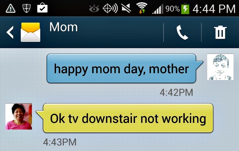 Happy Mothers Day... not so fast, the TV is broken