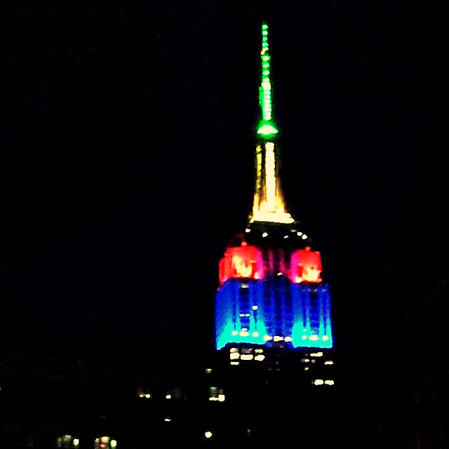 Empire State Building lit up in honor of Nelson Mandela