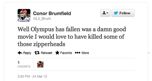 Conor Brumfield Racist Tweet