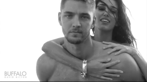 shirtless Chandler Parsons models BW piggyback