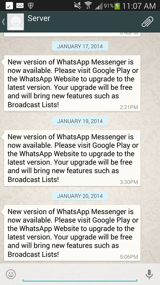New Version of Whatsapp Push Notification
