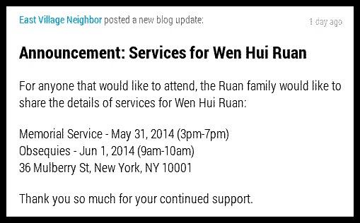 Memorial Service for Slain East Village Resident Wen Hui Ruan