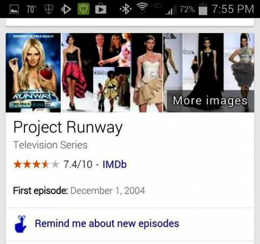 Google Now new episode reminder answer box