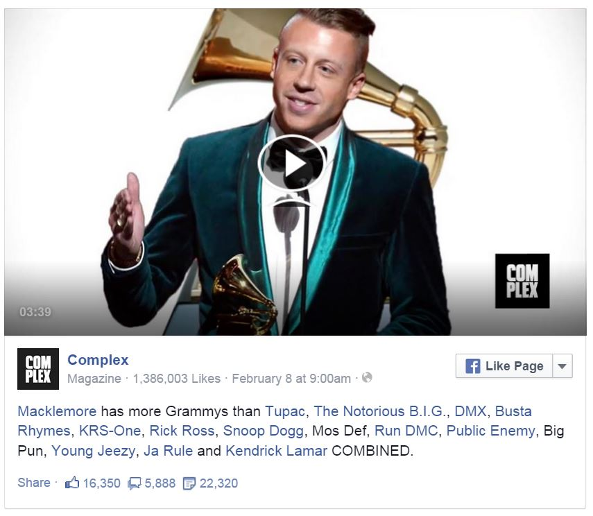 Macklemore has more grammys than biggest names in hip hop