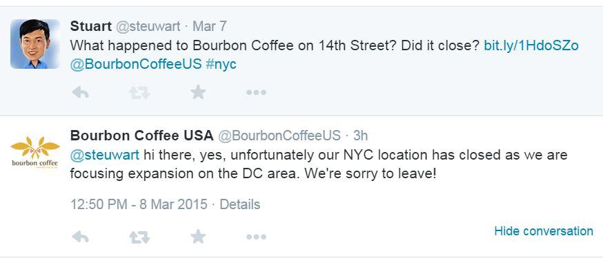 Bourbon Coffee closed New York
