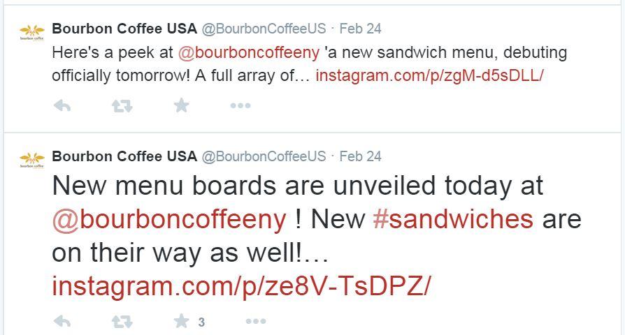 Bourbon Coffee new sandwiches Feb