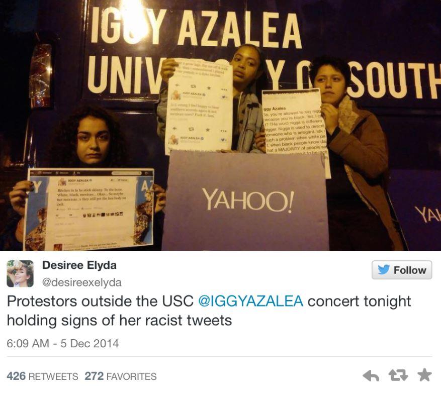 Iggy Azalea racist tweets protest