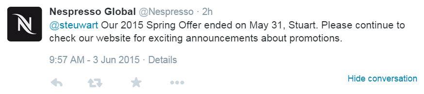 Nespresso responds with spring promo