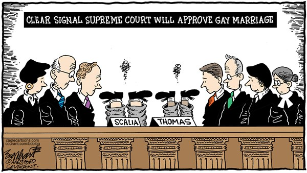 Scalia Clarence Thomas disset gay marriage cartoon