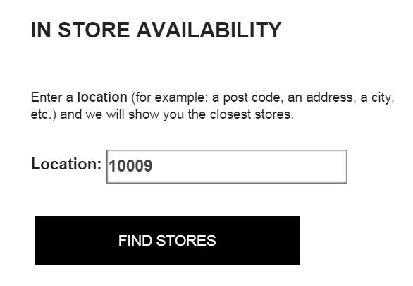 Zara stock check by location