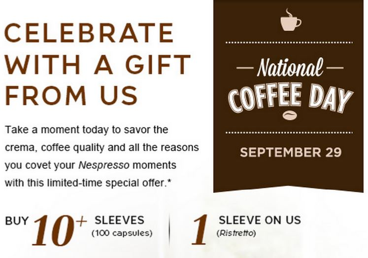 Celebrate National Coffee Day Nespresso Sale