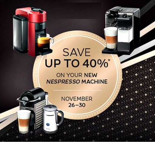 nespresso 39 s black friday sale discounts up to 40 off new. Black Bedroom Furniture Sets. Home Design Ideas