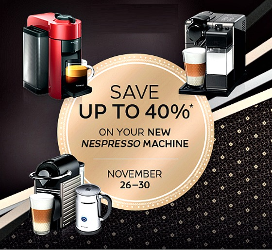 nespresso 39 s black friday sale discounts up to 40 off new machines stuarte. Black Bedroom Furniture Sets. Home Design Ideas
