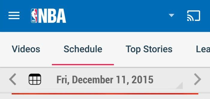 NBA League Pass schedule screen NBA app