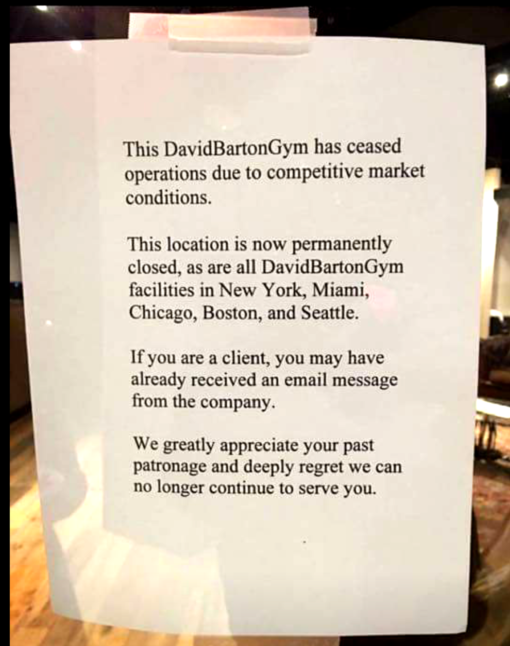 A note letting David Barton members know that the gym has closed all its locations