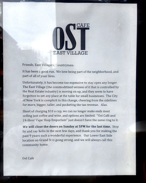 ost cafe note closes in East Village
