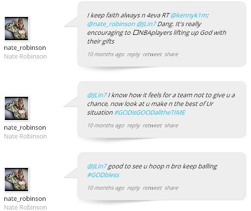 Nate  Robinson likes Jeremy Lin