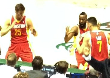 Harden, Parsons & Lin in their pregame Kung-Fu Routine