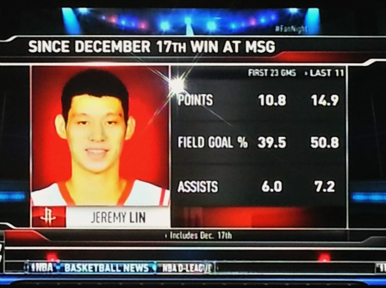 Lin averaging 14.9 pts, 7.2 asts and 50.9% last 11 games