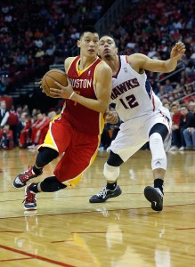 Jeremy Lin drives against Joe Jenkins vs. the Atlanta Hawks v Houston Rockets