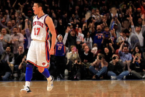 Jeremy Lin screams in Madison Square Garden as a member of the Knicks