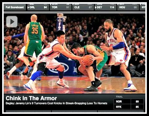 Jeremy Lin Racism - Chink in the Armor