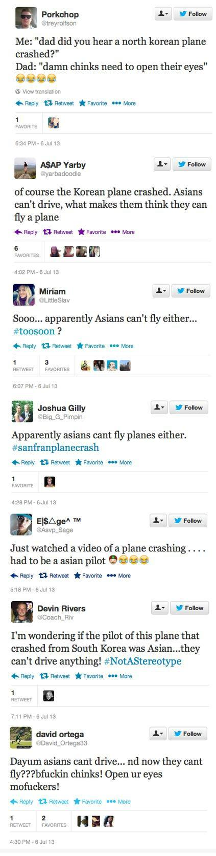 Asiana Plane Crash SFO racist tweets trey rolfson joshua gilley devin rivers david ortega