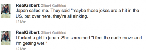 Gilbert Gottfried racist Tweets Japan Tsunami