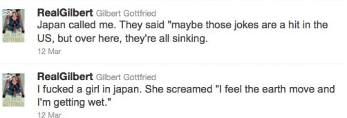 Gilbert Gottfried racist Tweets Japan Tsunami
