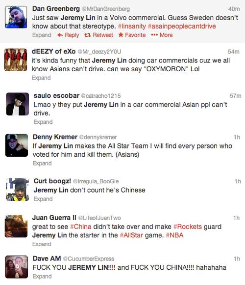 Jeremy Lin Racist Tweets denny kremer @dennykremer dan greenberg saulo escobar