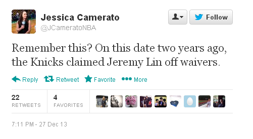 Jeremy Lin claimed off waivers 2 years ago tweet