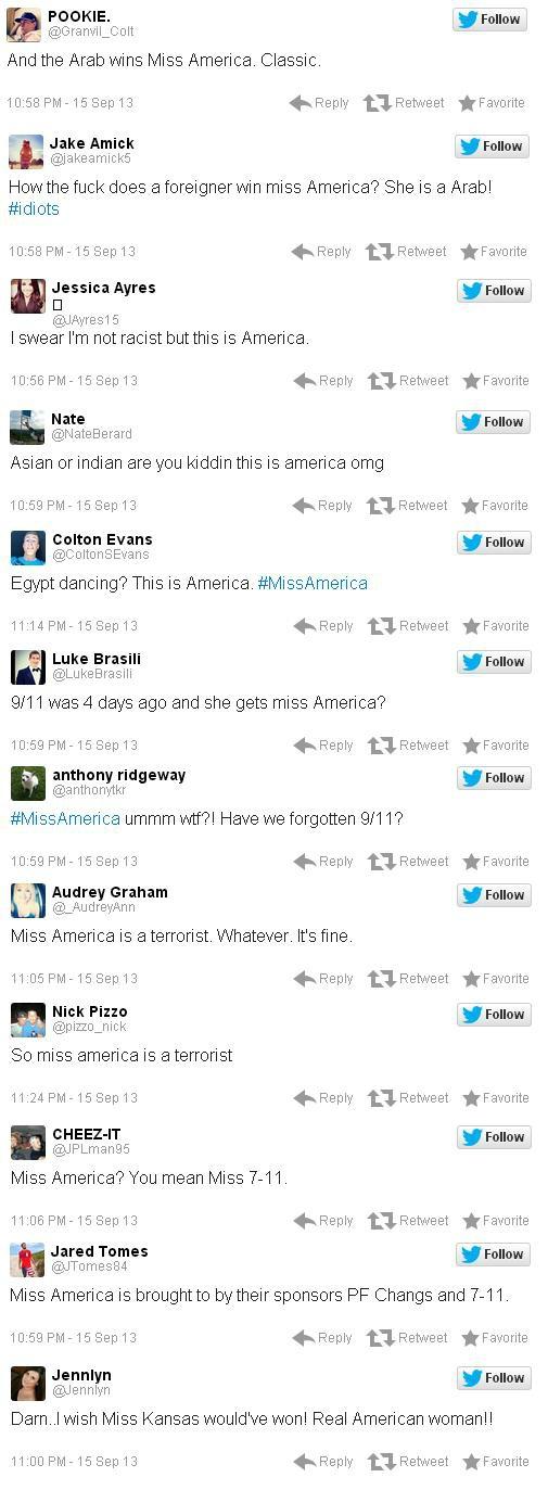 MIss America Racist Tweets Nina 2014 Jake Amick Jessica Ayres Jared Tomes Nate Berard Colton Evans Luke Brasili Anthony Ridgeway Nick Pizzo