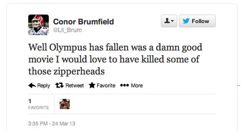 Conor Brumfield Racist Tweet