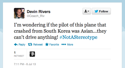 Racist Tweets Asiana by Devin Rivers