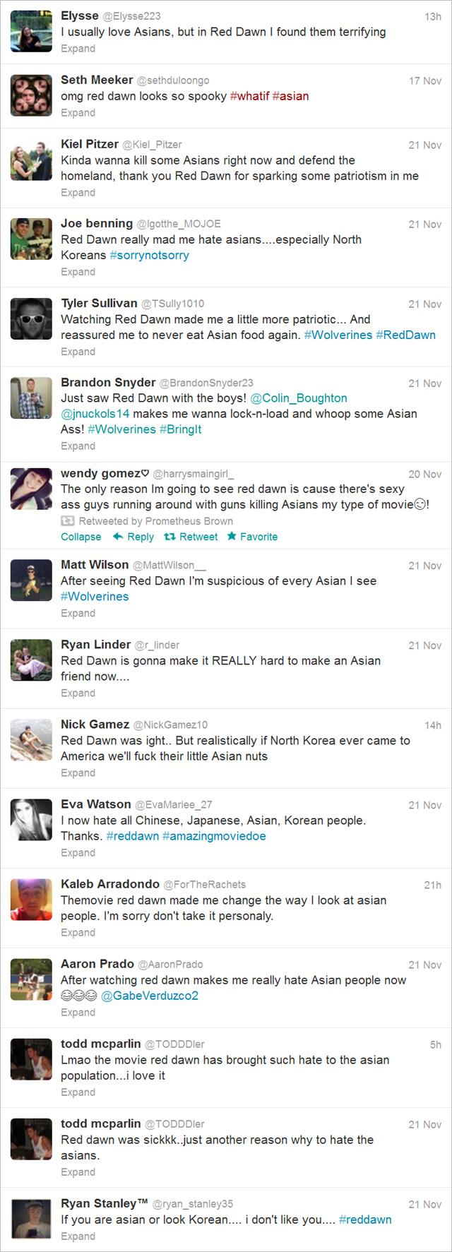 Racist tweets after watching Red Dawn Todd McParlin Aaron Prado Eva Watson Wendy Gomez Joe Benning Kiel Pitzer