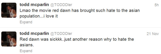 Red Dawn Todd McParlin Racist Tweets