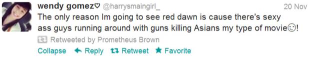 Red Dawn Wendy Gomez Racist Tweets