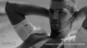 shirtless Chandler Parsons models arms head