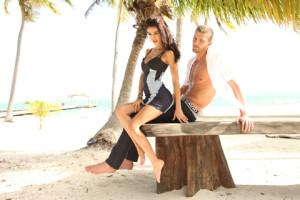 shirtless Chandler Parsons models beach