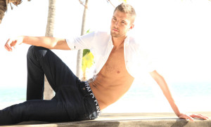 shirtless Chandler Parsons models leans