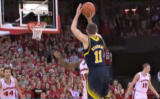 Nik Stauskas shoots three pointer Wisconsin