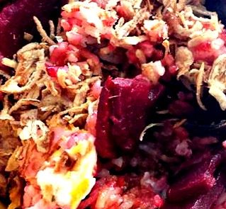beet fried rice with crispy onions