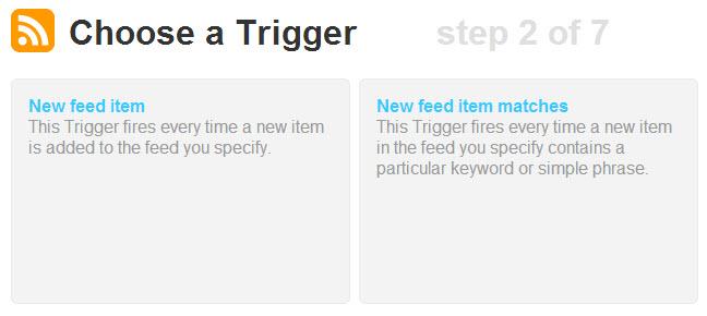 Choose a Trigger Feed keywords