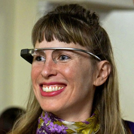 Sarah Slocum looking really crazy with Google Glass