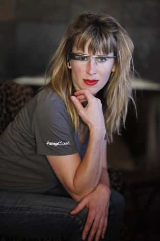 Sarah Slocum poses with Google Glass