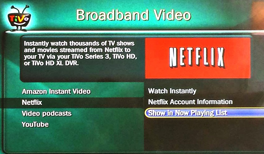 Where did Netflix go on my Tivo? How can I add it?