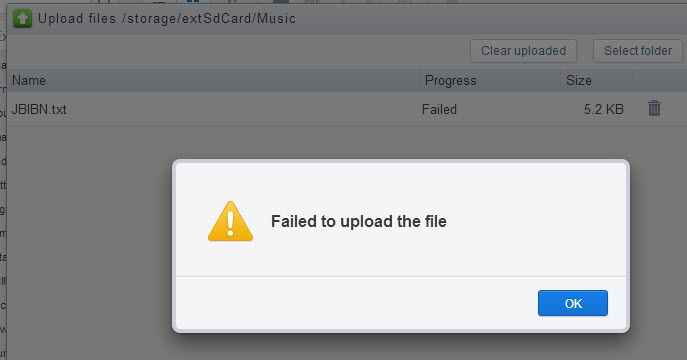 AirDroid Failed to Upload the File