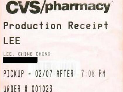 Hyun Yee called Ching Chong on CVS receipt